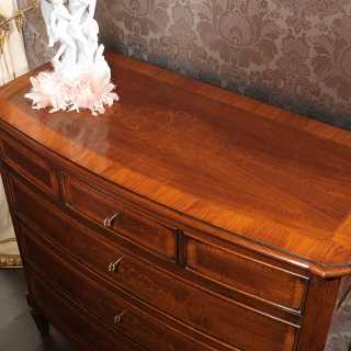 Walnut inlayed classic chest of drawers