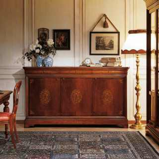 Walnut inalyed sideboard 800 francese style, carved and inalyed table, chairs and glass showcase