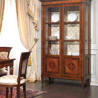 Walnut and olivewood classic glass showcase Maggiolini style. Handmade marquetry. Classic italian luxury furniture