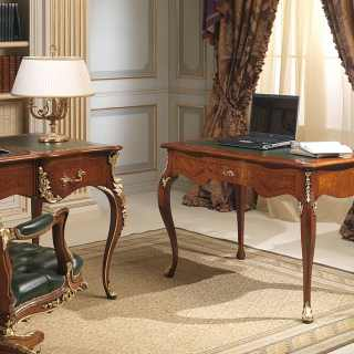 Classic luxury studio Luigi XV style: carved writing desk, walnut antique finish. Carvings handmade in Italy