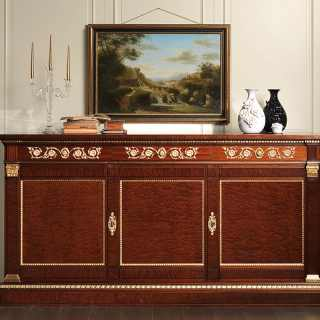 Ermitage sideboard impero style: mahogany wood with brass decorations and gold leaf details