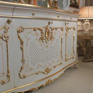 Luigi XV style sideboard with rich golden carvings, Venezia luxury classic collection