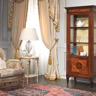 Inlayed classic glass showcase maggiolini style, walnut and olivewood finsh. Handmade in Italy