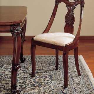 Classic chair 700 siciliano style, walnut finish, handmade carvings