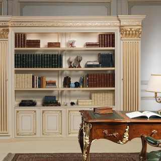Luigi XV style classic carved desk, antique finish and gold leaf details; classic bookcase unit, handmade carvings, ivory lacquered with gold decorations finish