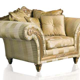 Classic armchair Imperial collection, ivory fabric finish. Carved and golden details and cymatium