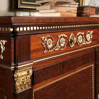 Ermitage mahogany sideboard, impero style, with brass decorations and gold leaf details