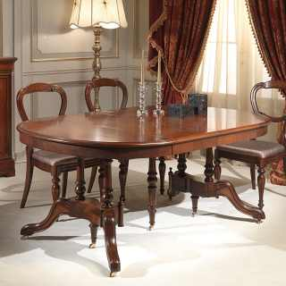 Classic walnut table extensible till cm 255 with 4 extensions, here half extended