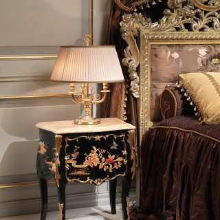 Black night table with marble top, luxury classic bedroom Emperador Gold, Luigi XV style