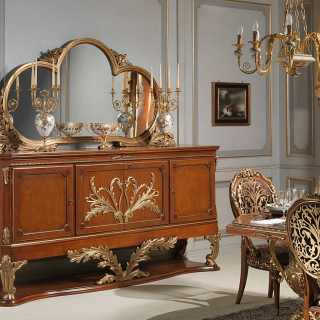 Myrtle briar sideboard with mirror, Luigi XVI style: all walnut and gold leaf finish, Versailles luxury furniture collection