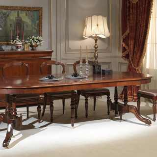 Classic walnut table extensible till cm 255 with 4 extensions, here fully extended