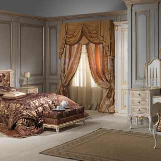 Classic bedroom Louvre, bed, night table, bench, toilette with mirror, all patinated ivory and gold details
