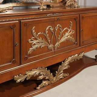 Classic luxury sideboard with golden handmade carvings: all made of myrtle briar, walnut and gold leaf finish. All Luigi XVI style, Versailles luxury classic collection