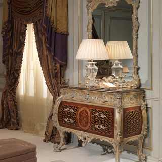 Chest of drawers Emperador Gold, Luigi XV style, with carved wall mirror