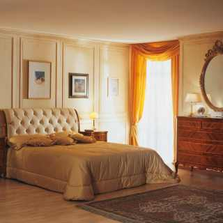 Luxury classic bedroom 800 francese, capitonné leather headboard bed, gold leaf mirror, walnut night tables and chest of drawers