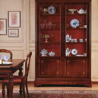 Inalyed walnut glass showcase, 800 francese style
