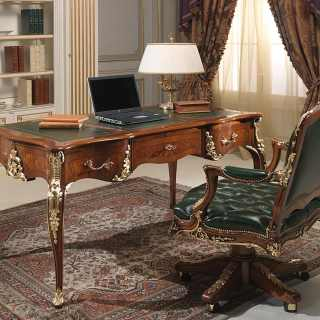 Clic Luigi Xv Style Desk And Armchair Walnut Antique Finish Gold Leaf Details