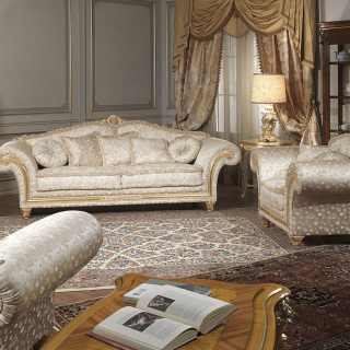 Classic living room Imperial collection, fabric finish. Golden and carved details and cymatium