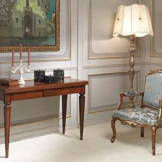 Walnut console-table extensible till cm 250 with 4 extensions, classic style, handmade in Italy