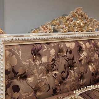 Classic bed Louvre, capitonné headbord, rich handmade gold carvings