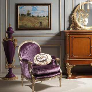 Rialto carved armchair for the classic luxury collection Versailles. Myrtle briar sideboard Luigi XVI style