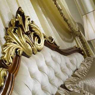 Elegant headboard, bed Louis XV France