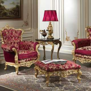 Baroque armchair of the luxury classic collection Living Room Barocco, carved and gilded by hand