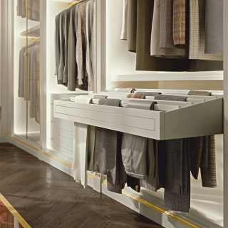 Walk-in closet wardrobe with trouser hanger