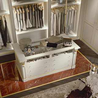 Walk-in closet wardrobe with central island