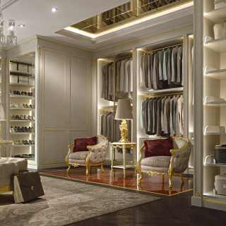 Well-organized walk-in closet wardrobe