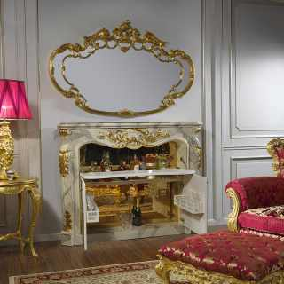 Fireplace and furniture for living room baroque