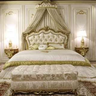 Classic bench and baroque bed