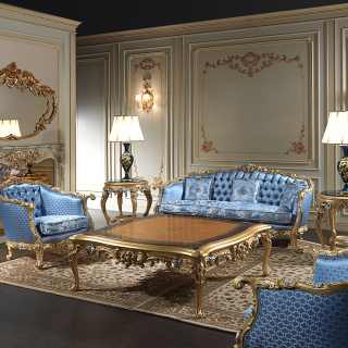 Living room made in Italy Eighteenth Century, made and carved by hand in Italy, inspired to realms and palaces of the Eighteenth Century