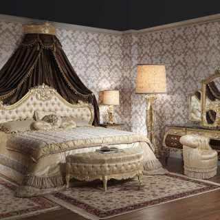 Luxury bed Louis XV Emperador Gold