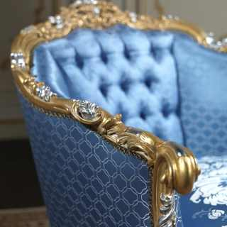 Luxury classic armchair of the classic collection Living Room Eighteenth Century, carved and gilded by hand