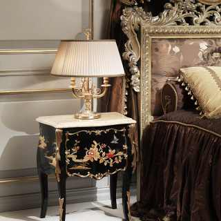 Night table Luigi XV style of the Chinoiserie collection lacquered and decorated