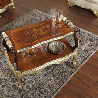 Classic coffee table for living room with wheels