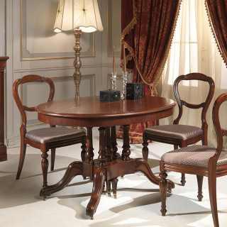 Tavolo allungabile tondo classico in noce, lunghezza fino a oltre due metri e mezzo
