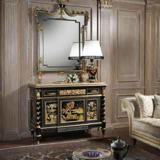 Luxury classic chest of drawers with mirror of the Chinoiserie collection