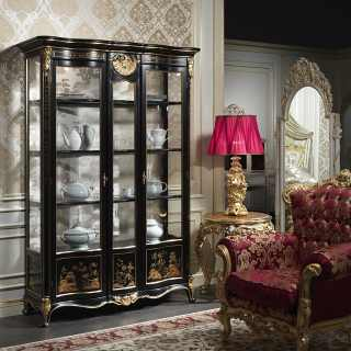 Luxury classic glass showcase in chinese classic style Luigi XV of the Chinoiserie collection