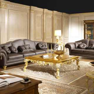luxury living room in leather
