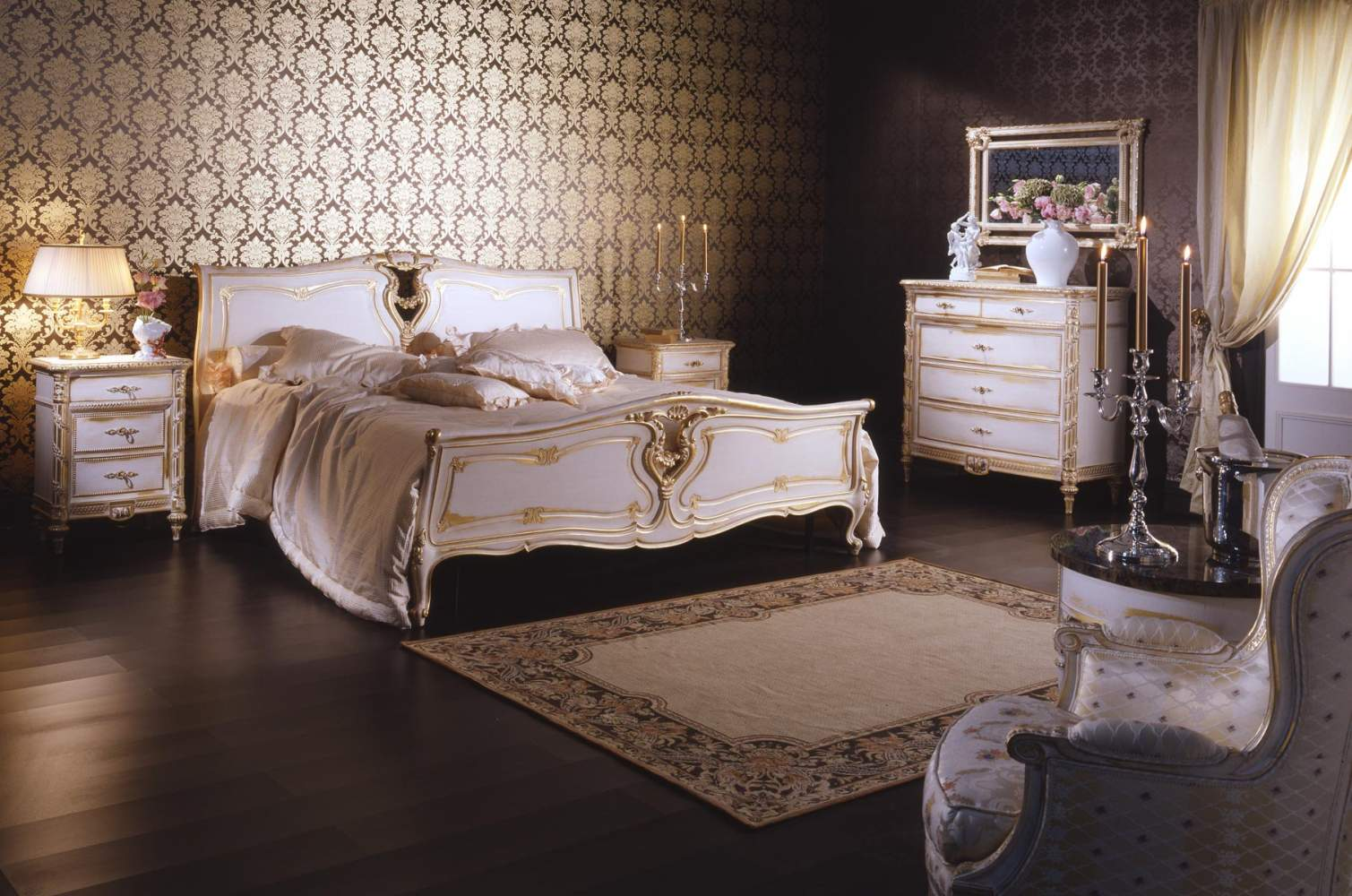 Classic Louis XVI bedroom made of bed, chest of drawers and night tables, all in carved wood and finishing in white over gold