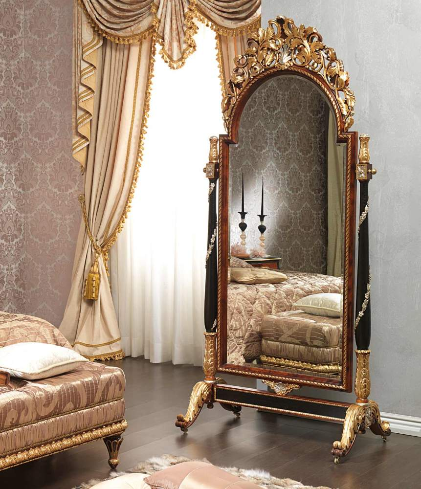 Classic Emperador Black in LouisXV style bedroom, wall mirror on wheels with carvings