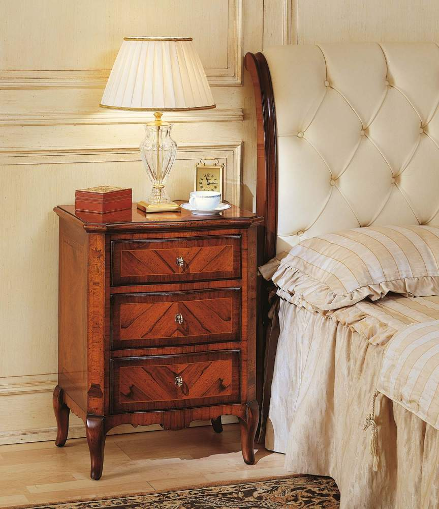 19th century french bedroom, night table in walnut
