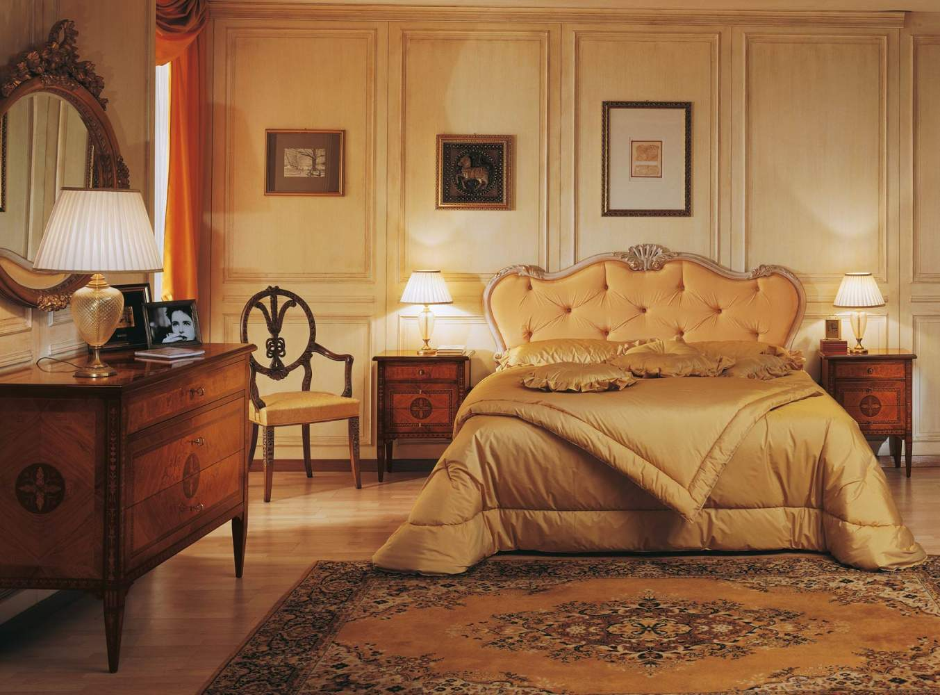 Classic luxury Maggiolini bedroom, capitonnè bed, chest of drawers and night tables in walnut and olive wood