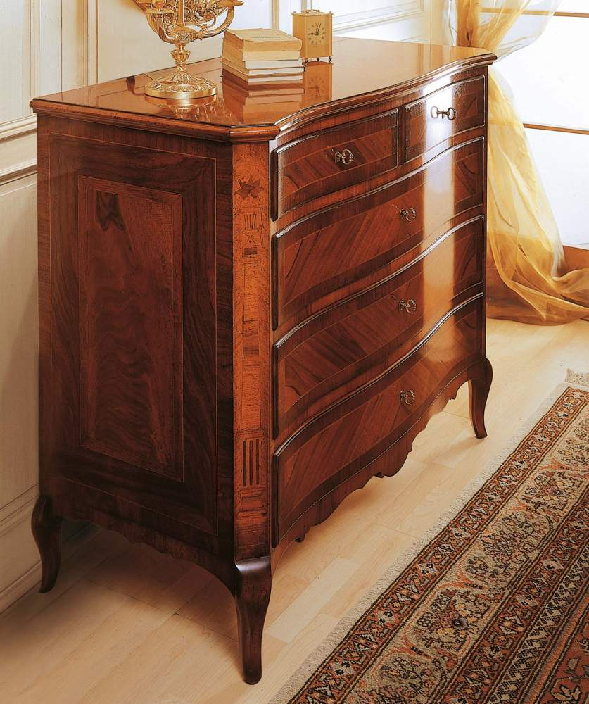 Classic 19th century french bedroom, chest of drawers in walnut