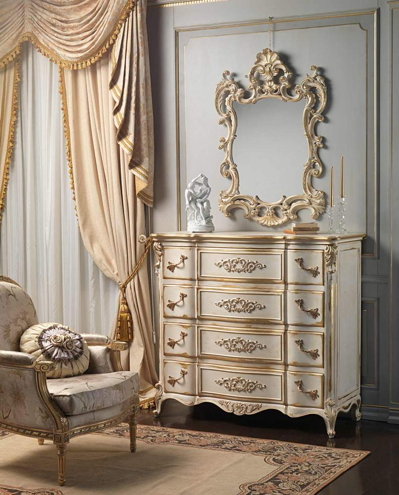 Classic Louis XVI bedroom, chest of drawers and mirror carved by hand with golden details