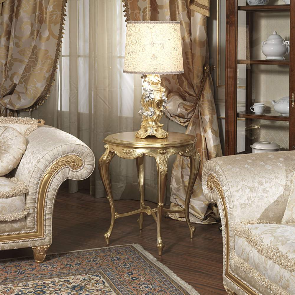 classic living room imperial leather with golden small table vimercati classic furniture