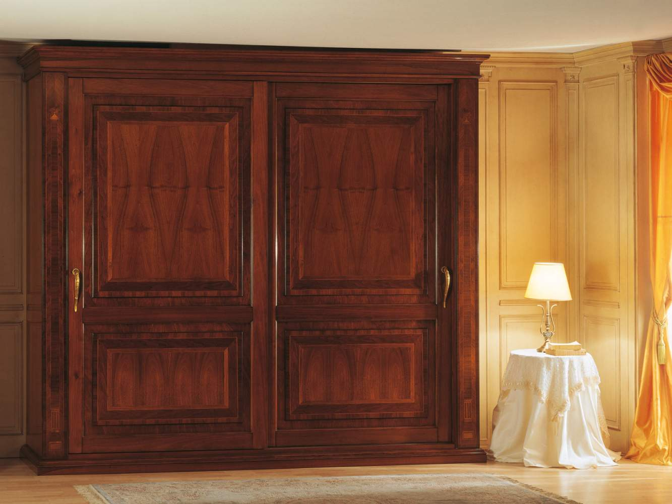 19th century french bedroom, wardrobe with two doors inlaid