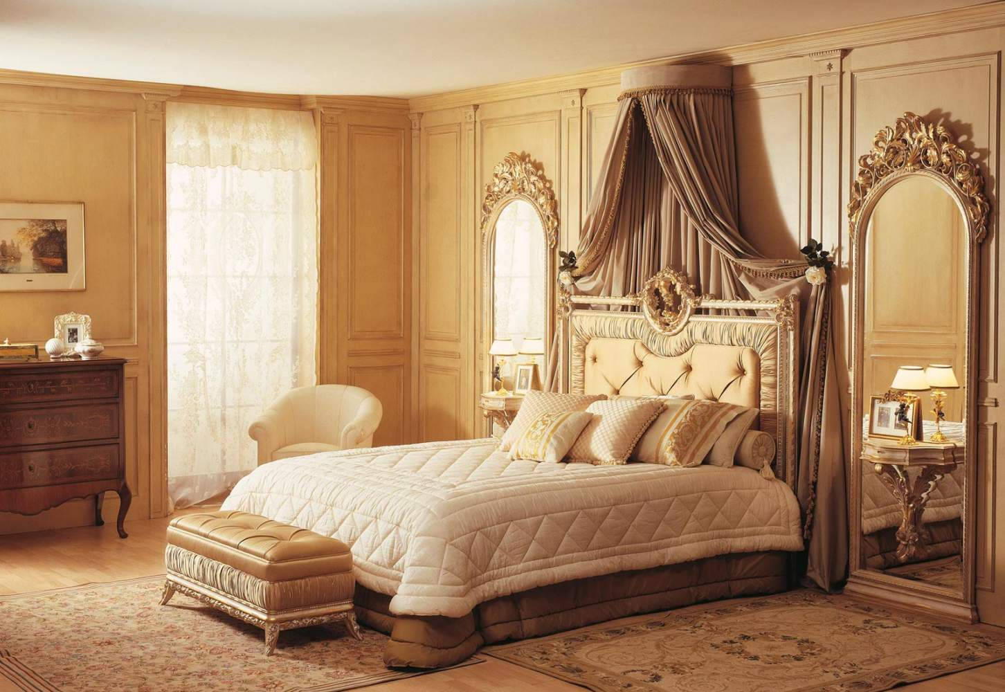 Classic Louvre bedroom, bed and wall mirror white over gold
